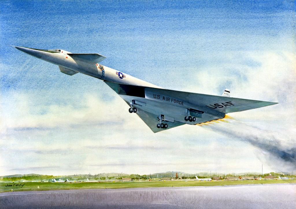 """The XB-70, Mach 3 Bomber - 1961"" Artist:  John McCoy"