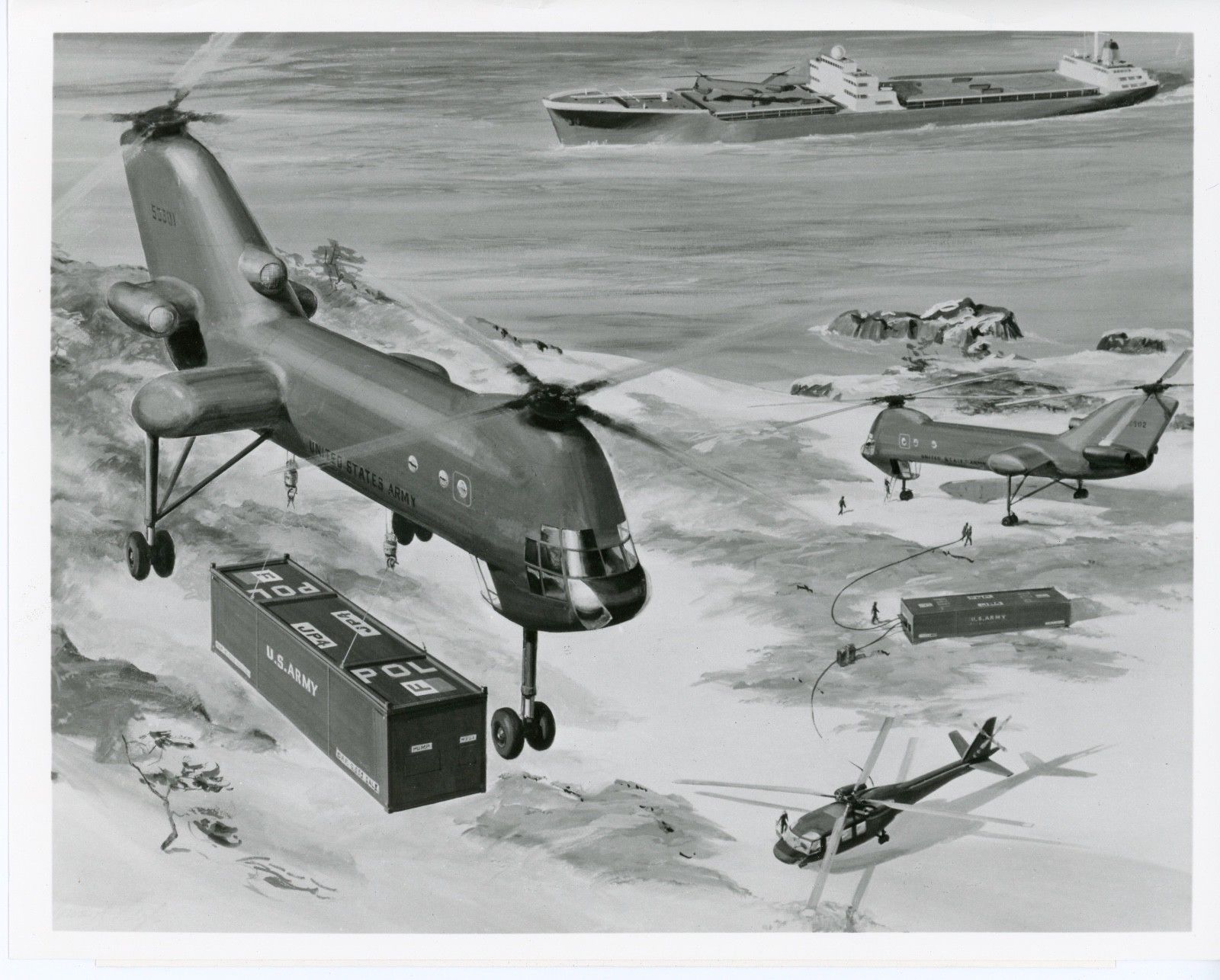 Vtol Aerospace Projects Review Blog Schematic August 1958 American Modeler Airplanes And Rockets This Illustration Shows It Carrying A Standard Shipping Container From Cargo Vessel To Shore The Seems Contain Fuel Its Being Used